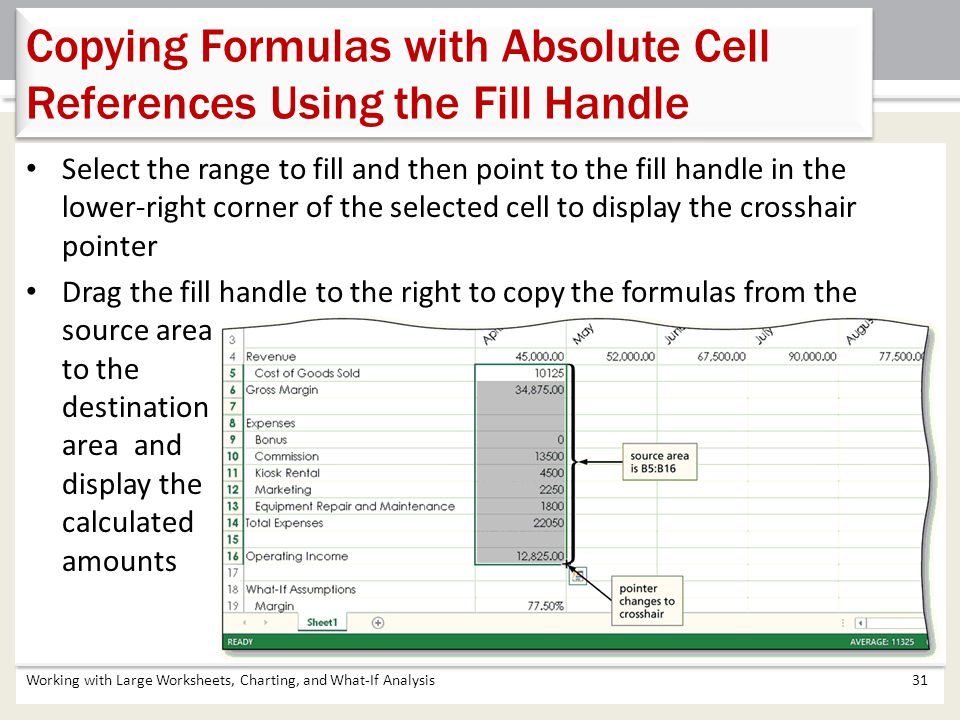 Copying Formulas with Absolute Cell References Using the Fill Handle