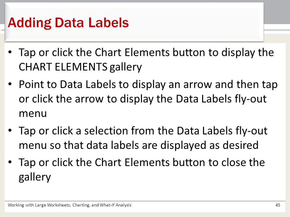 Adding Data Labels Tap or click the Chart Elements button to display the CHART ELEMENTS gallery.