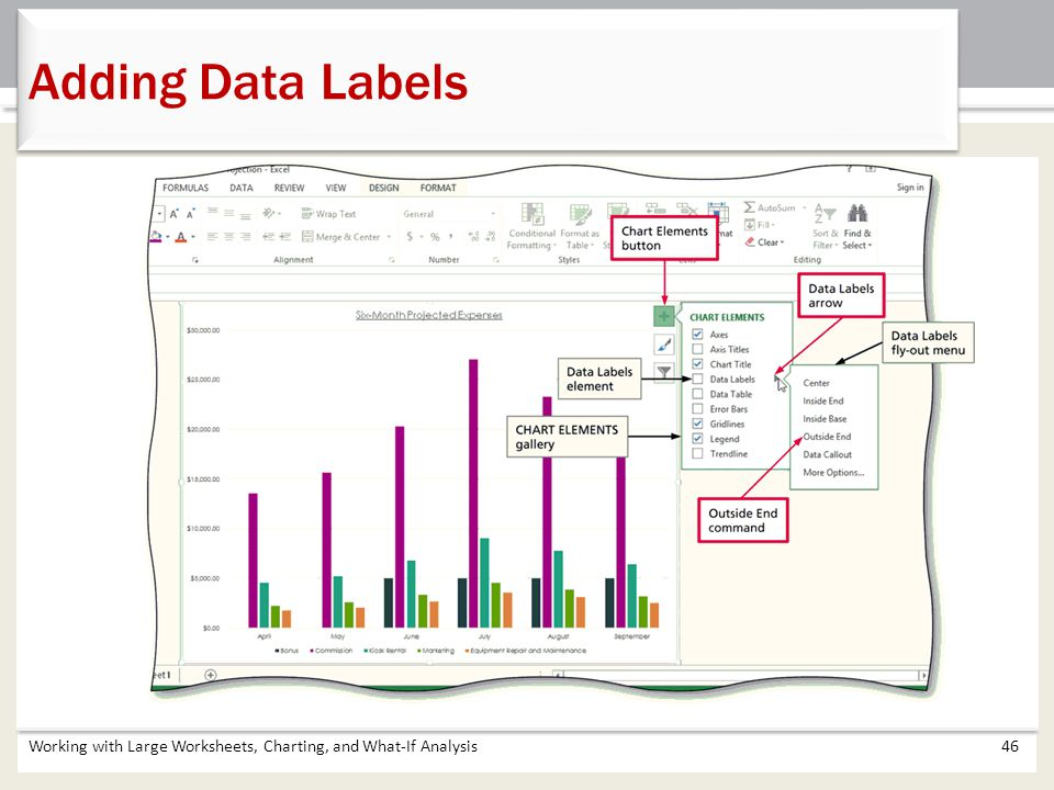 Adding Data Labels Working with Large Worksheets, Charting, and What-If Analysis