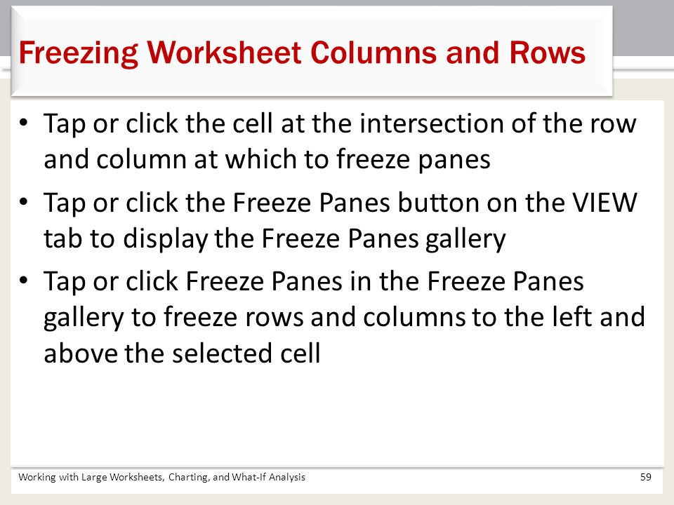 Freezing Worksheet Columns and Rows