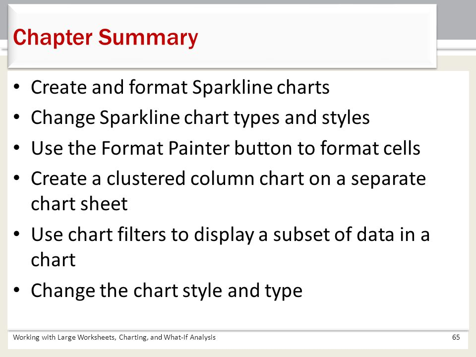 Chapter Summary Create and format Sparkline charts