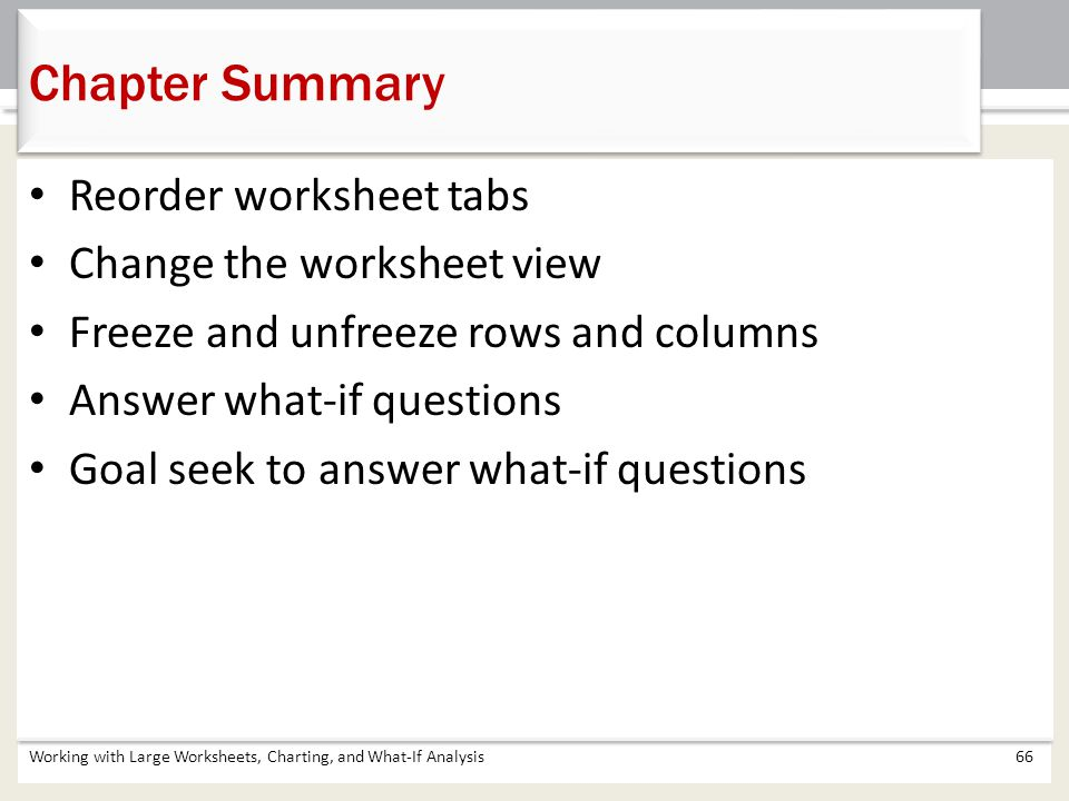 Chapter Summary Reorder worksheet tabs Change the worksheet view