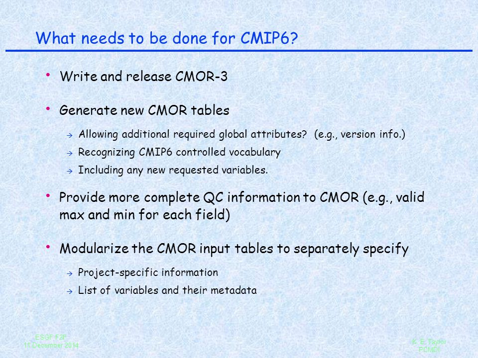 What needs to be done for CMIP6