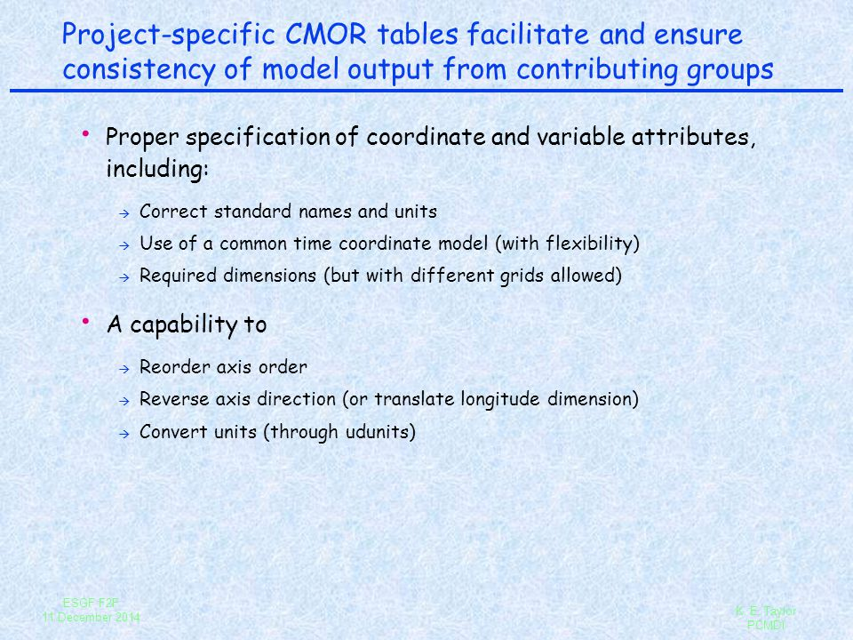 Project-specific CMOR tables facilitate and ensure consistency of model output from contributing groups