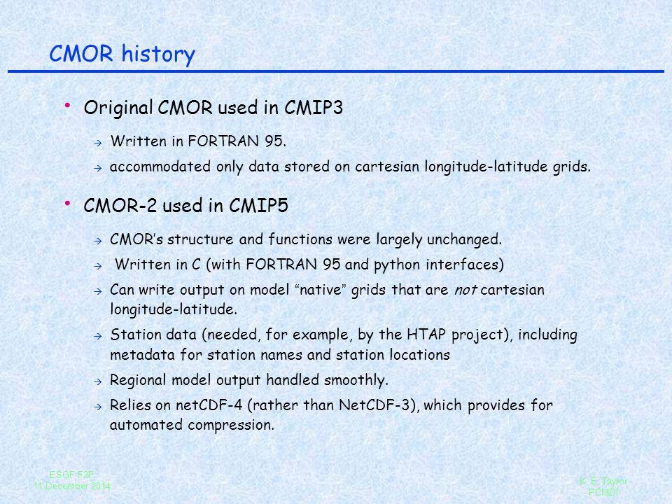 CMOR history Original CMOR used in CMIP3 CMOR-2 used in CMIP5