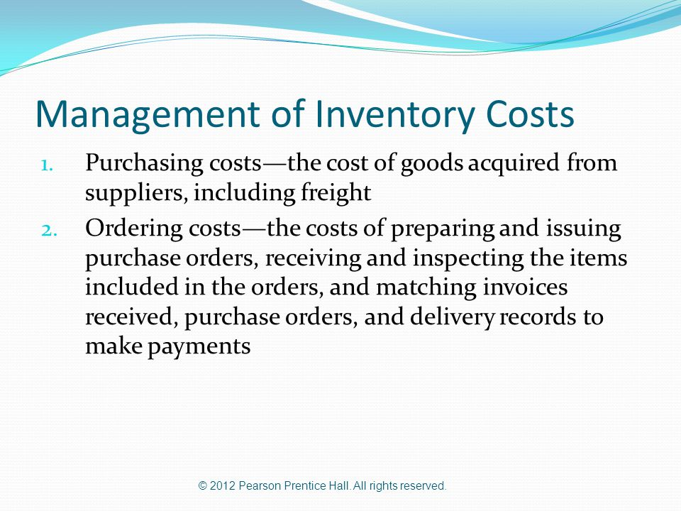 Management of Inventory Costs