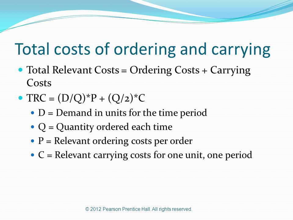 Total costs of ordering and carrying