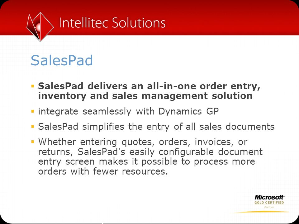 SalesPad SalesPad delivers an all-in-one order entry, inventory and sales management solution. integrate seamlessly with Dynamics GP.