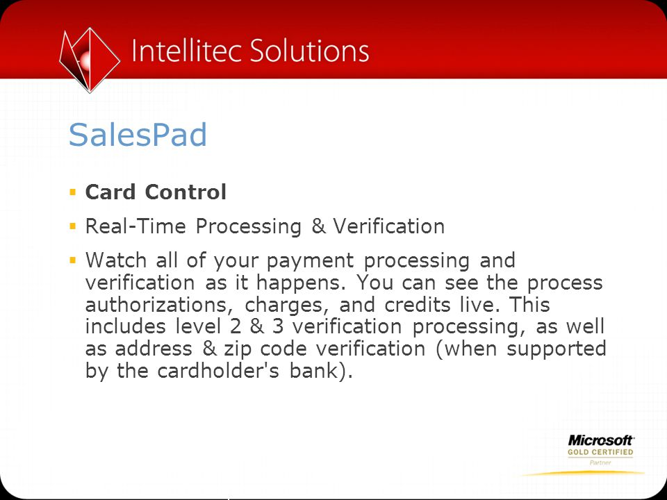 SalesPad Card Control Real-Time Processing & Verification