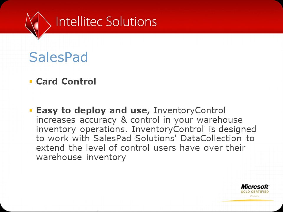 SalesPad Card Control.