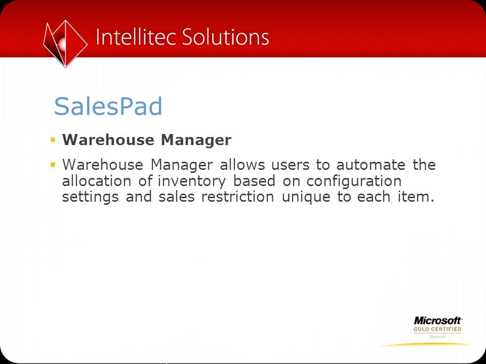 SalesPad Warehouse Manager