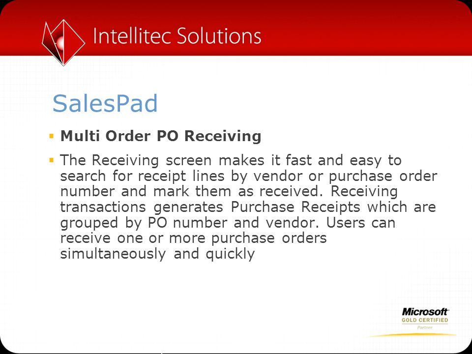 SalesPad Multi Order PO Receiving