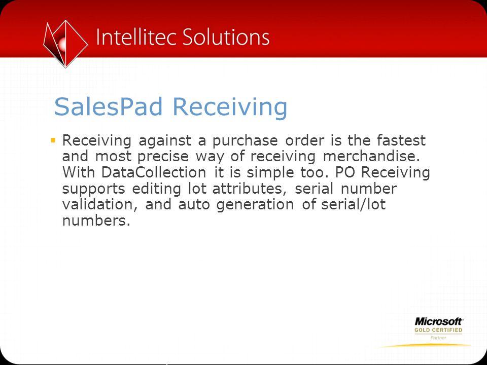 SalesPad Receiving