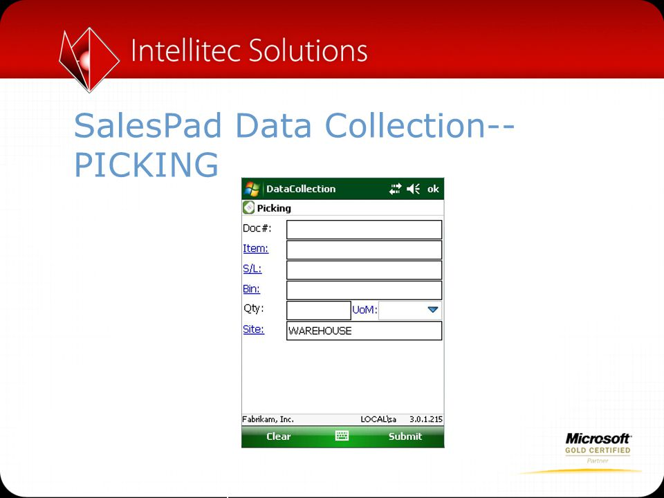 SalesPad Data Collection--PICKING