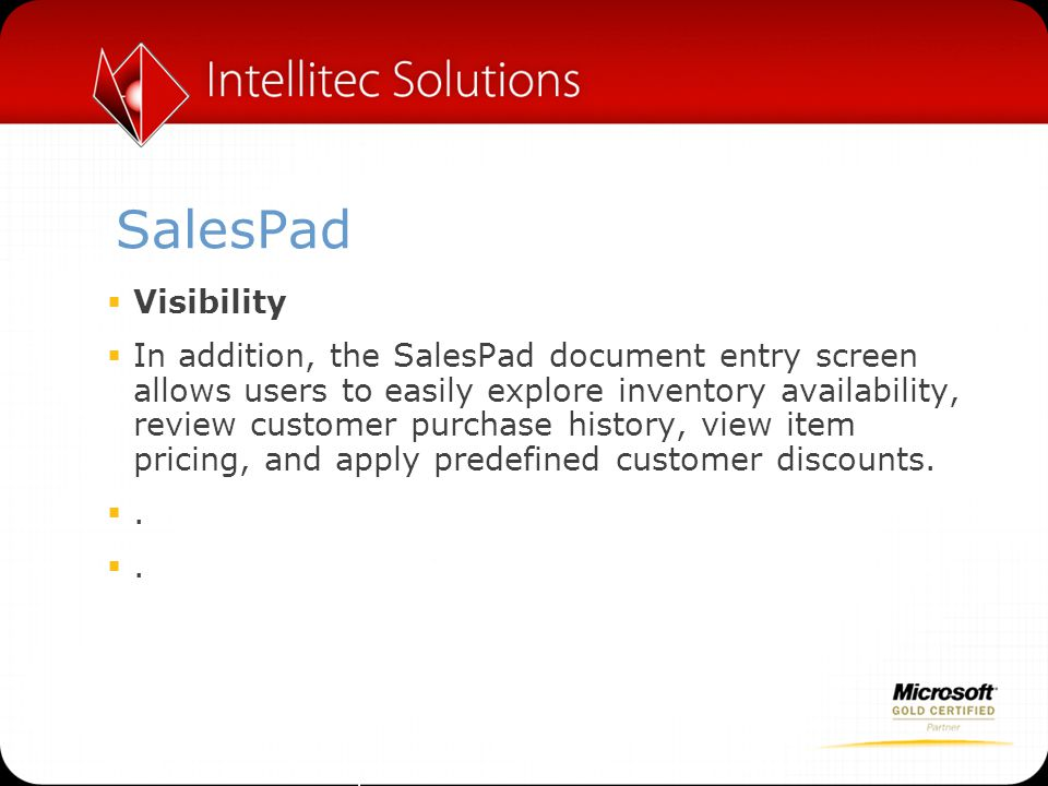 SalesPad Visibility.