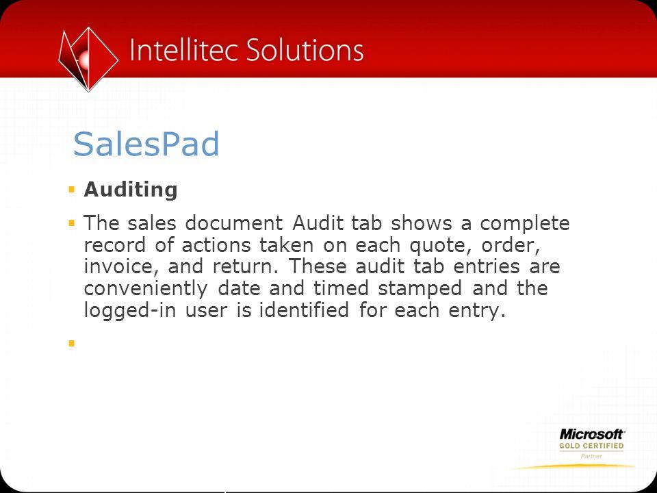 SalesPad Auditing.