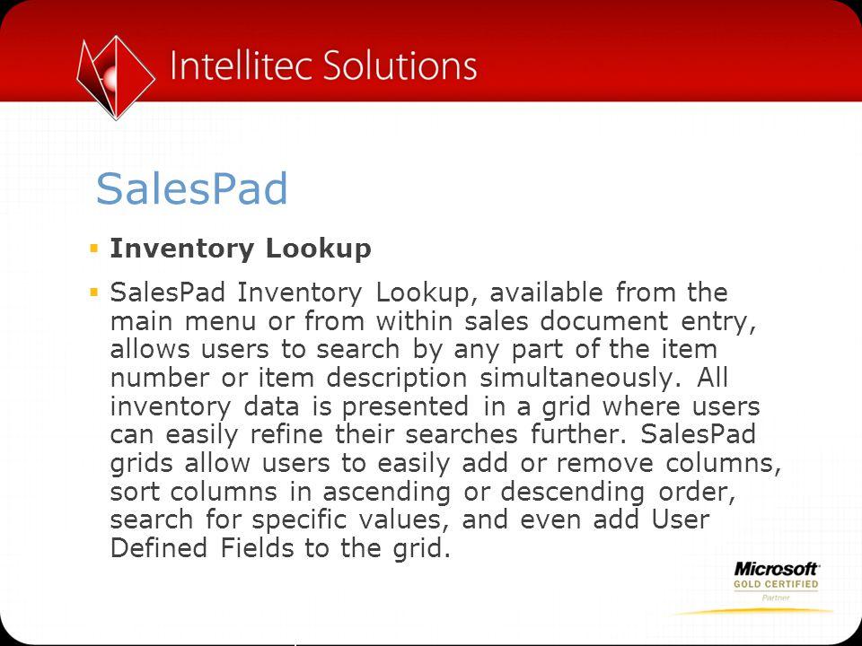 SalesPad Inventory Lookup