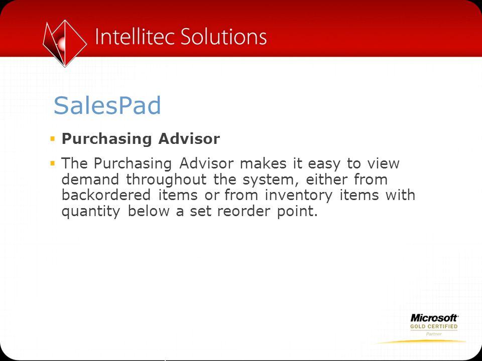 SalesPad Purchasing Advisor