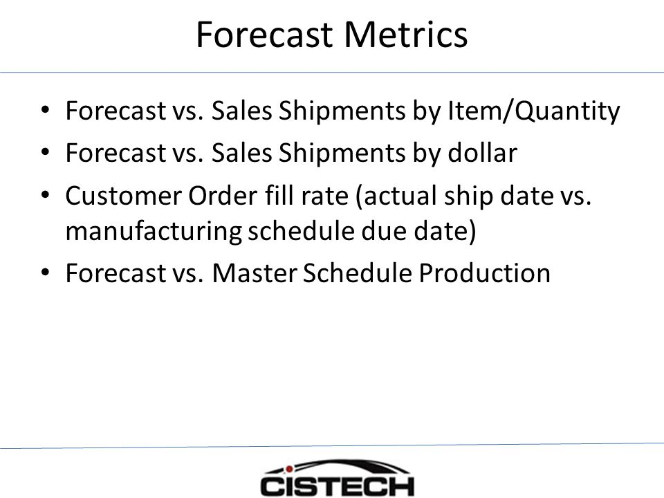 Forecast Metrics Forecast vs. Sales Shipments by Item/Quantity