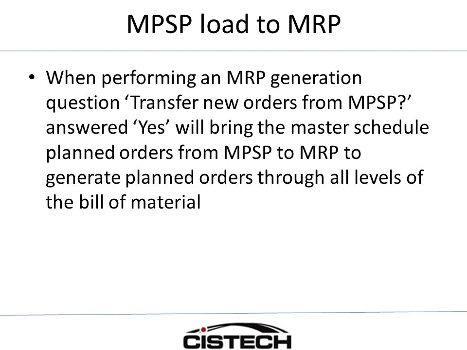 MPSP load to MRP
