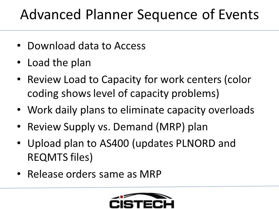 Advanced Planner Sequence of Events