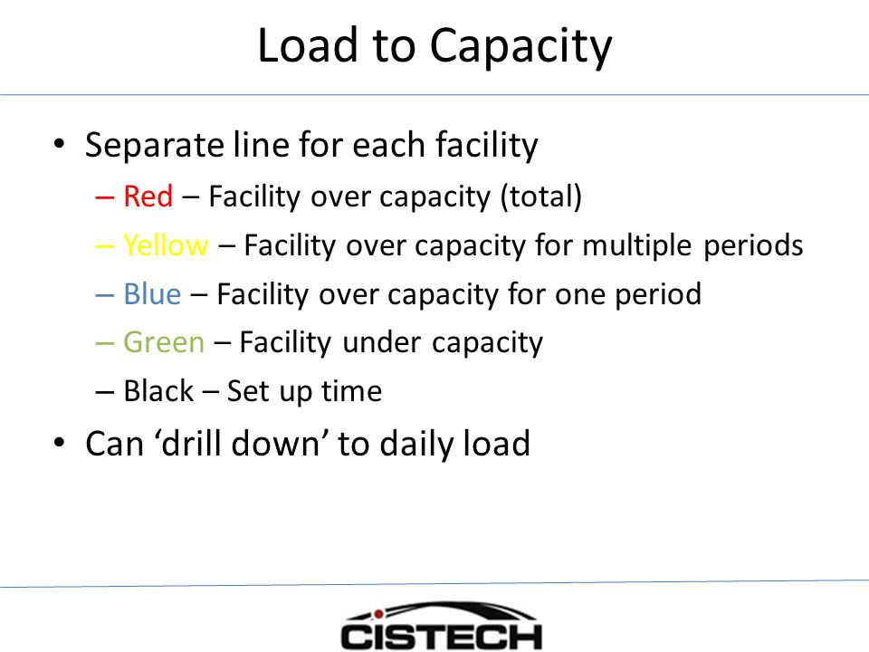 Load to Capacity Separate line for each facility