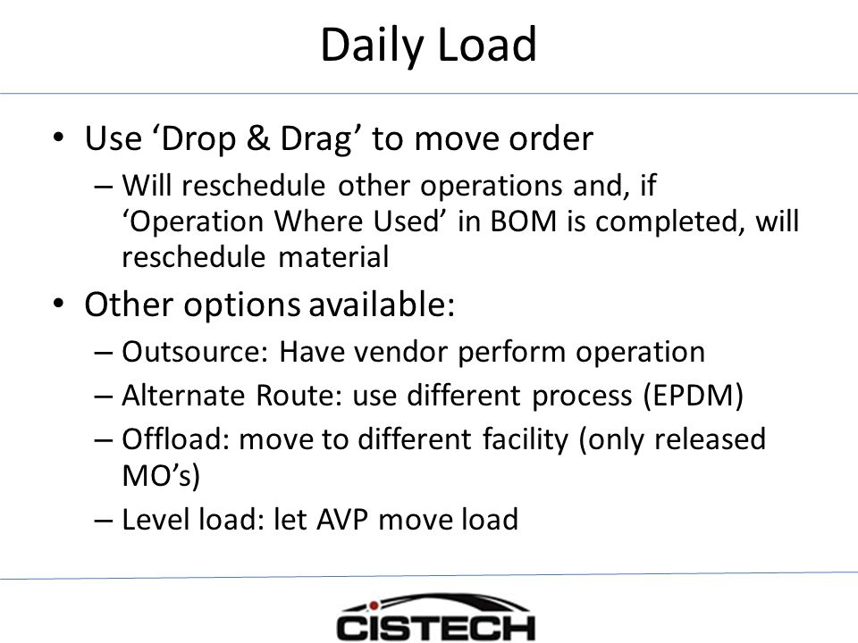Daily Load Use 'Drop & Drag' to move order Other options available: