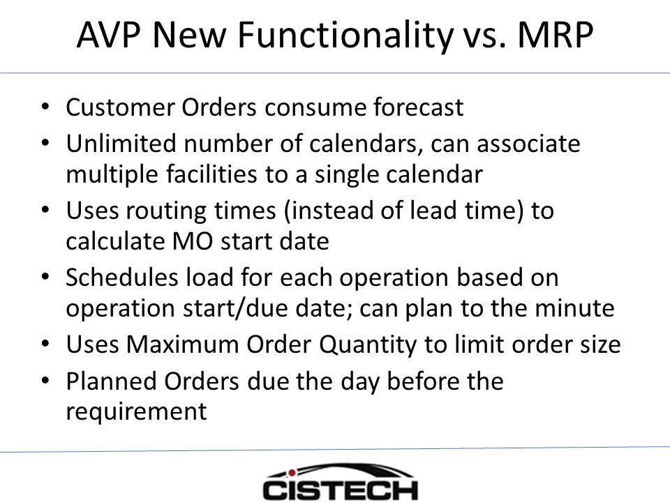 AVP New Functionality vs. MRP