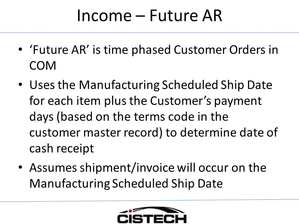 Income – Future AR 'Future AR' is time phased Customer Orders in COM