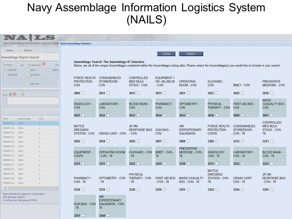 Navy Assemblage Information Logistics System (NAILS)