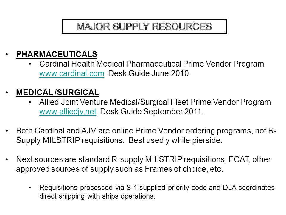 MAJOR SUPPLY RESOURCES