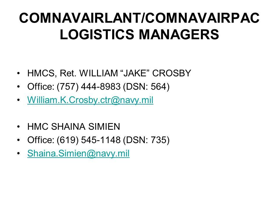 COMNAVAIRLANT/COMNAVAIRPAC LOGISTICS MANAGERS