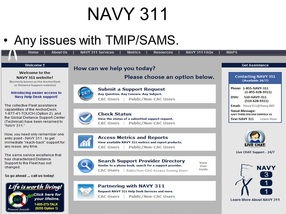 NAVY 311 Any issues with TMIP/SAMS.