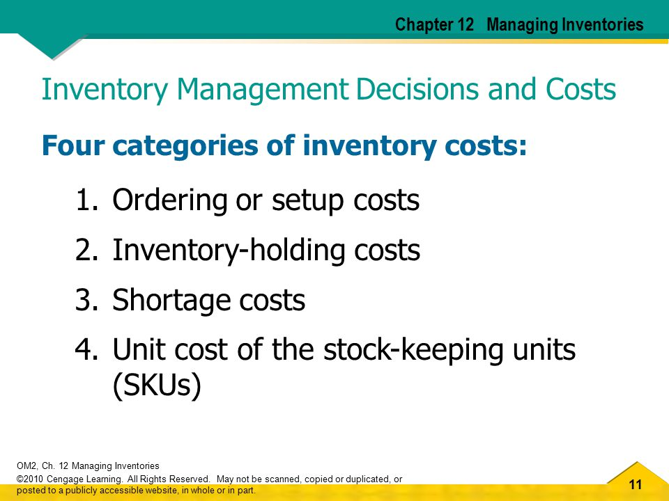 Inventory Management Decisions and Costs
