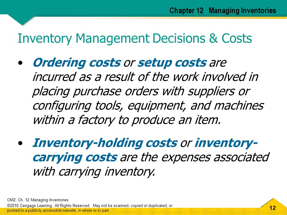 Inventory Management Decisions & Costs