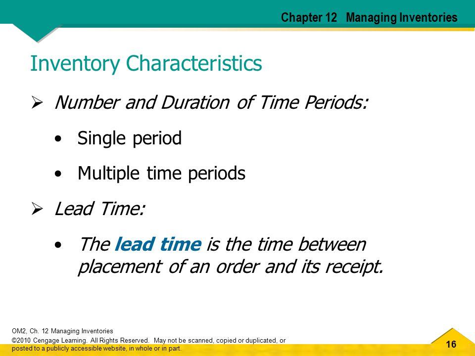 Inventory Characteristics