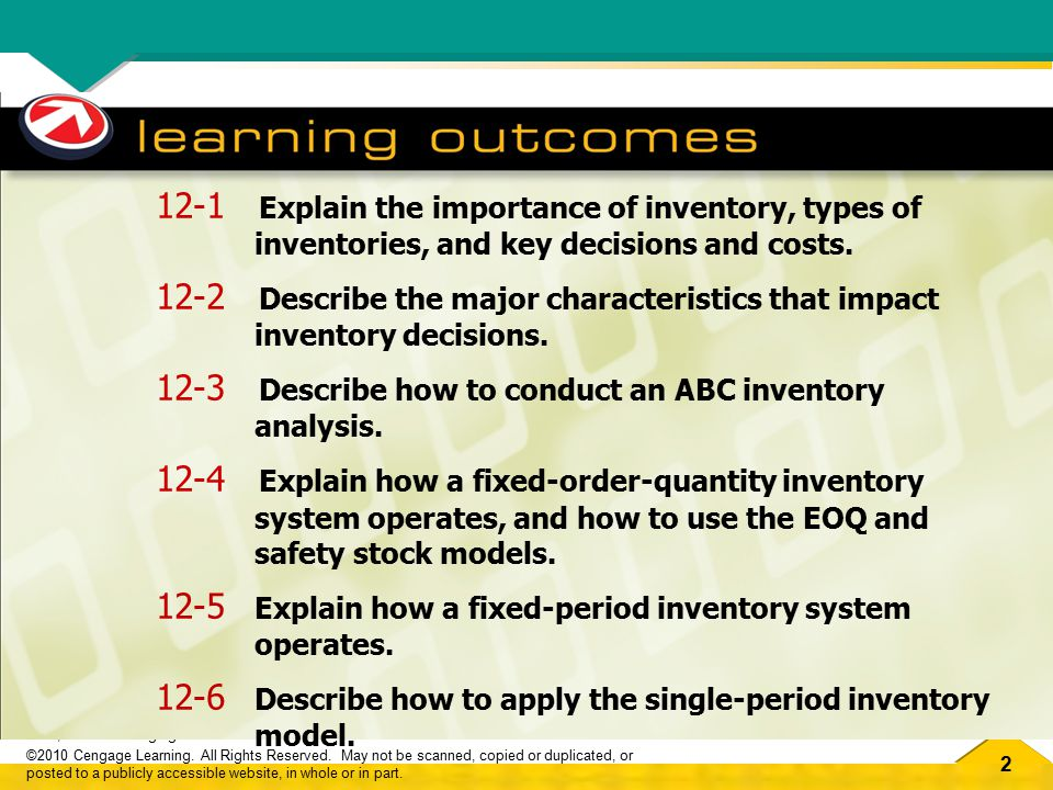 12-1 Explain the importance of inventory, types of inventories, and key decisions and costs.
