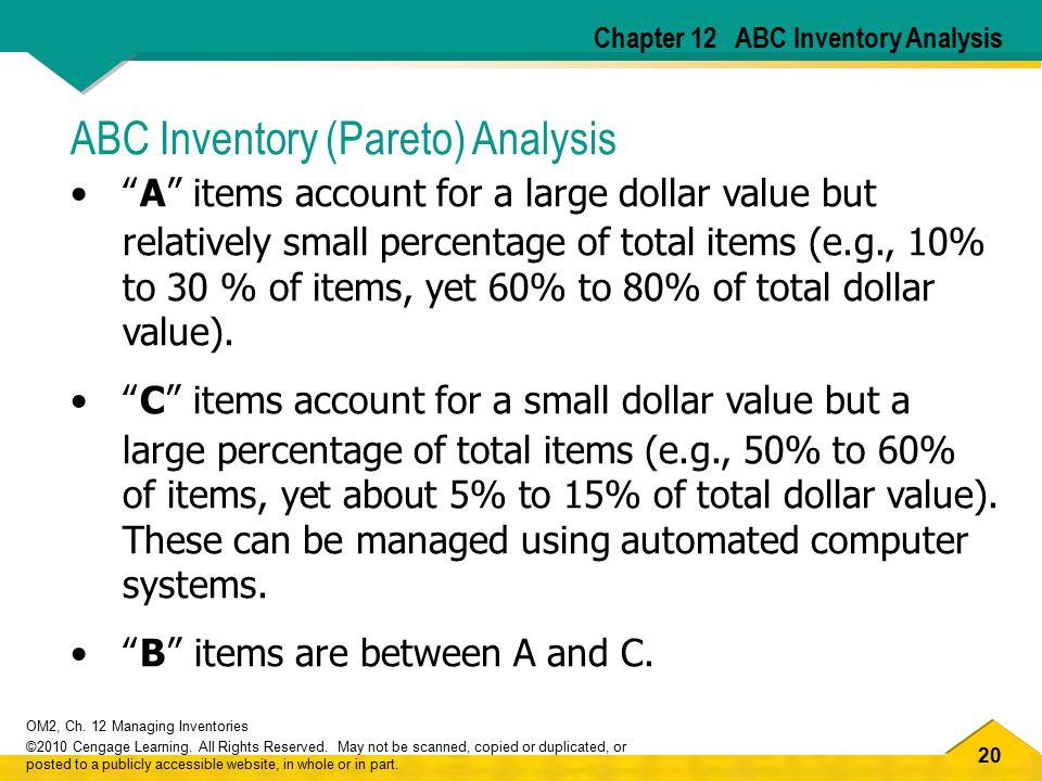 ABC Inventory (Pareto) Analysis