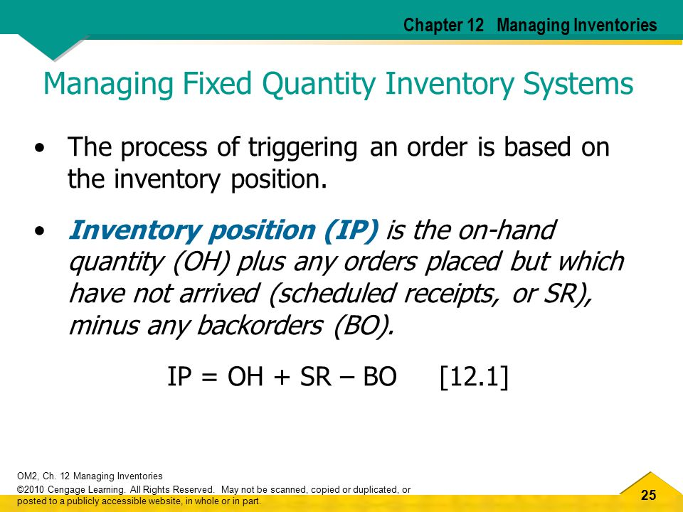 Managing Fixed Quantity Inventory Systems