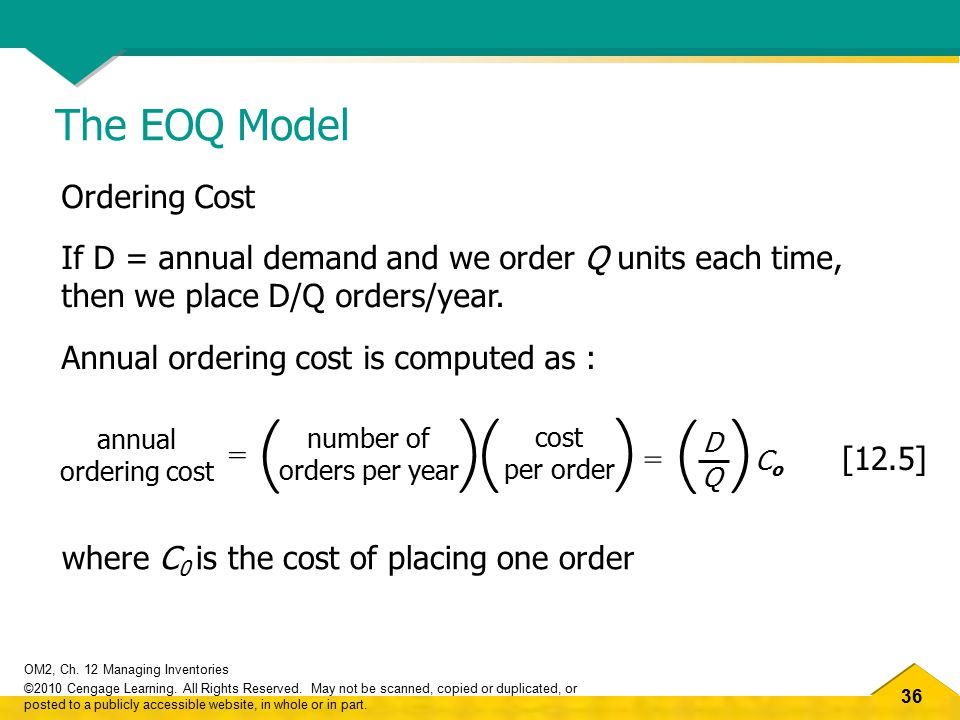 ( ) The EOQ Model Ordering Cost