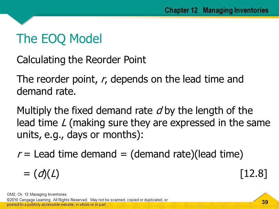 The EOQ Model Calculating the Reorder Point