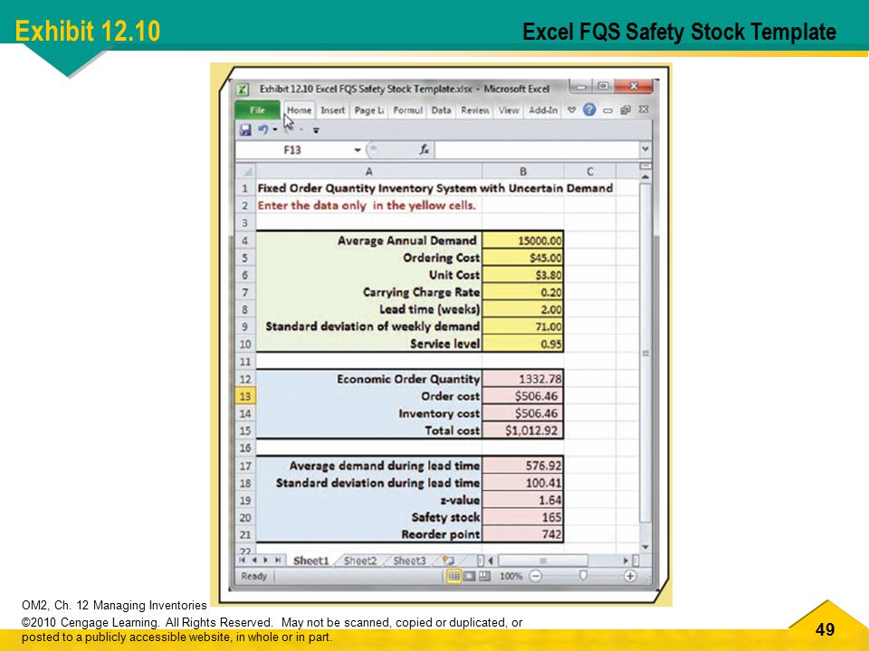 Exhibit 12.10 Excel FQS Safety Stock Template