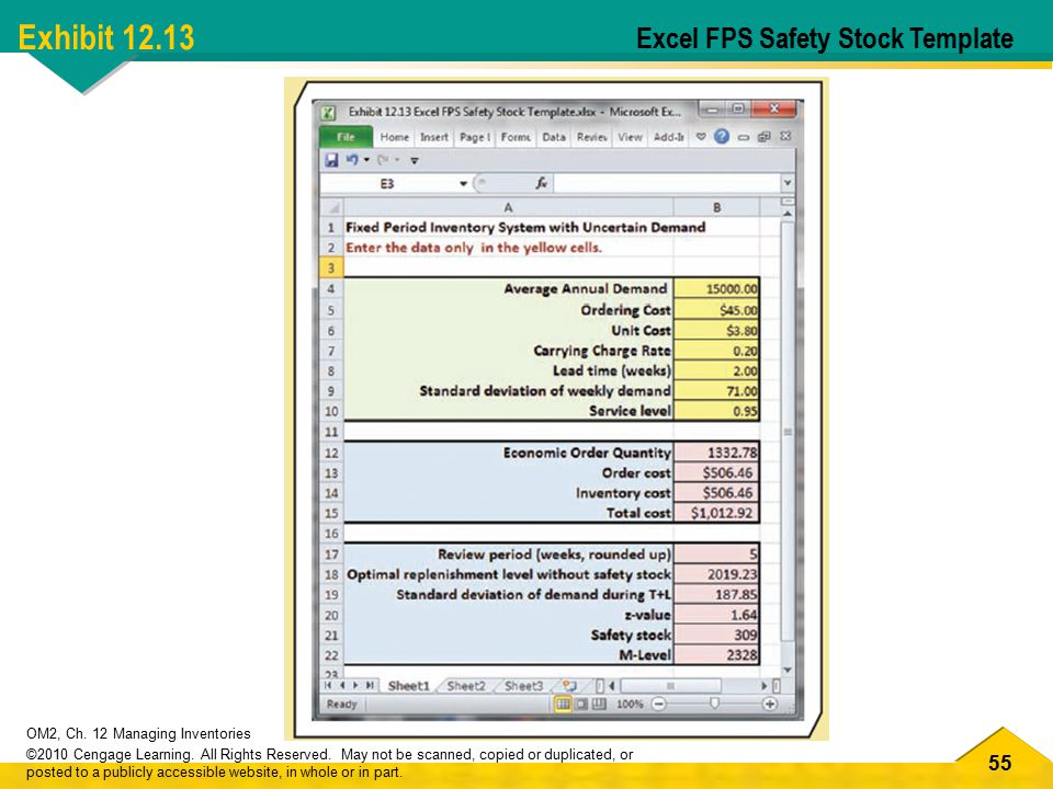 Exhibit 12.13 Excel FPS Safety Stock Template