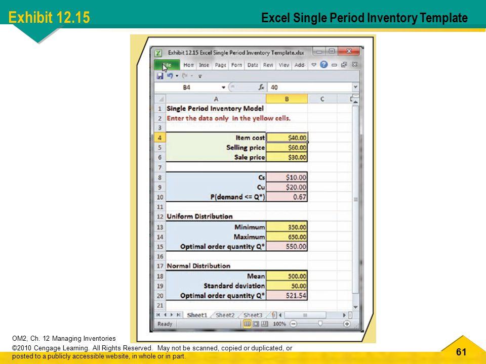 Exhibit 12.15 Excel Single Period Inventory Template