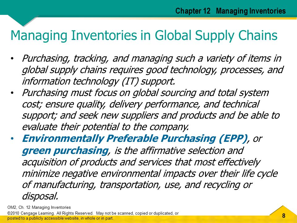 Managing Inventories in Global Supply Chains