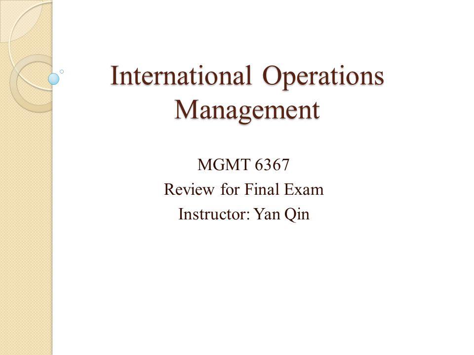 International Operations Management