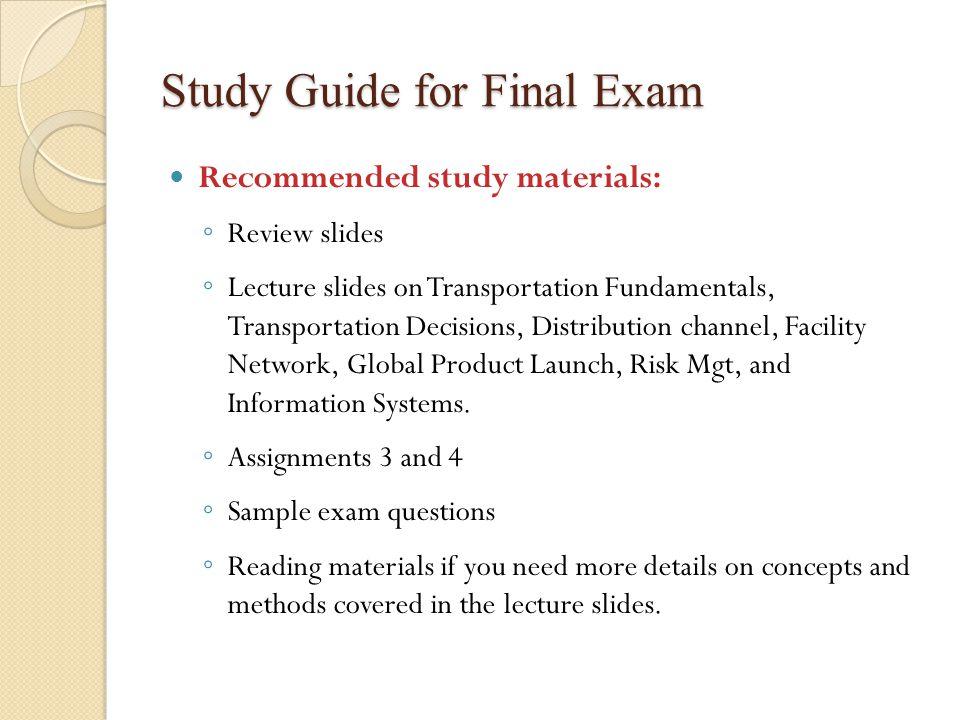 Study Guide for Final Exam