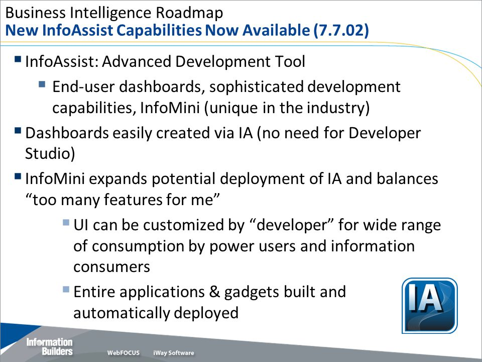 Business Intelligence Roadmap New InfoAssist Capabilities Now Available (7.7.02)