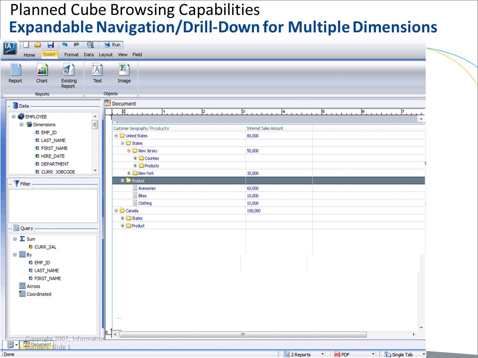 Planned Cube Browsing Capabilities Expandable Navigation/Drill-Down for Multiple Dimensions