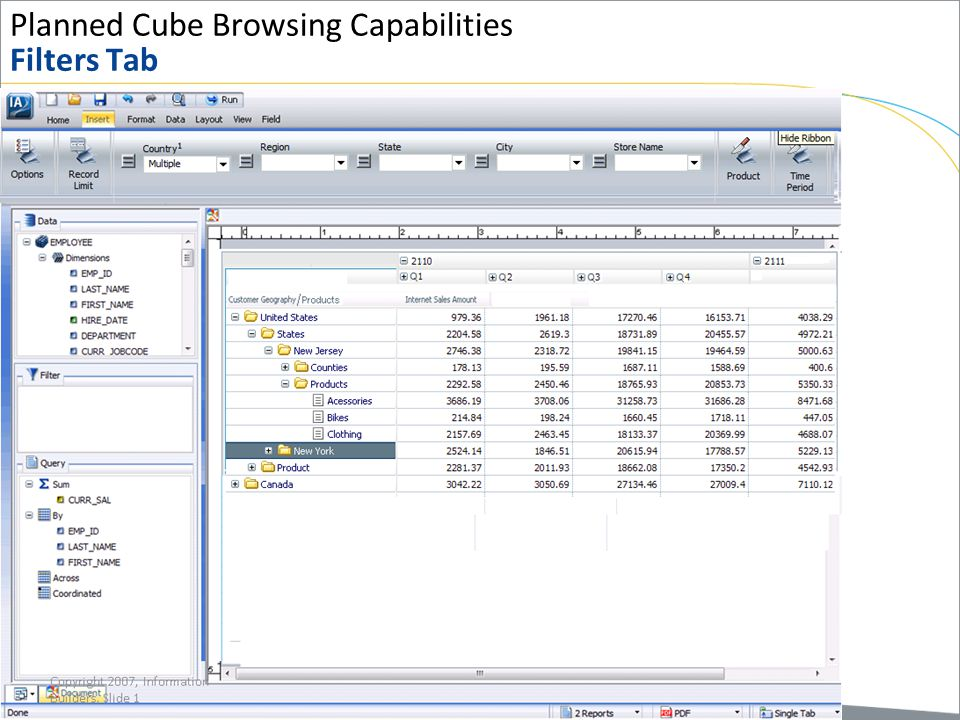 Planned Cube Browsing Capabilities Filters Tab